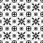 Tile Black And White Decorative Floor Tiles Seamless Pattern In Portugal Style. Majolica Pottery Til poster