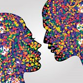 Man And Woman Heads. Psychology Concept Illustration, Vector Art. Abstract Couple Face With Colorful poster