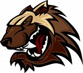 stock photo of wolverine  - Graphic Image of a Wolverine or Badger Mascot Head - JPG
