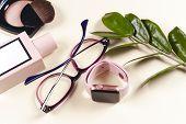 Fashion Women Accessories. Pastel Colors. Trendy Glasses, Perfume, Powder, Flowers. poster