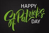 Happy St. Patricks Day Greeting. Lettering St. Patricks Day On A Light Background. poster