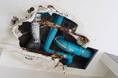 Damage Home Ceiling In Restroom, Water Leak Out From Piping System Make Ceiling Damaged poster