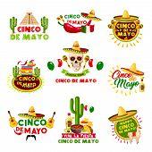 Cinco De Mayo Mexican Holiday Celebration Icons. Vector Set Of Mexico Aztec Pyramid, Sombrero Hat An poster