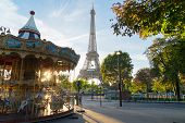Eiffel Tower With Merry Go Round From Trocadero At Sunrise, Paris, France poster