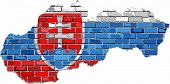 Slovak Republic Map On A Brick Wall - Illustration,  Grunge Map And Flag Of Slovakia On A Brick Wall poster