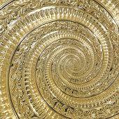 Golden Metal Abstract Spiral Background Pattern Fractal. Decorative Ornament Element. Golden Metalli poster