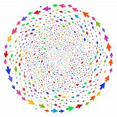 Multicolored Mouse Cursor Curl Sphere. Suggestive Cluster Organized From Randomized Mouse Cursor Obj poster