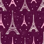Vector Purple Pink Eifel Tower Paris And Roses Flowers Seamless Repeat Pattern Surrounded By St Vale poster