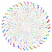 Psychedelic Musical Note Twirl Fireworks. Psychedelic Cluster Done With Scatter Musical Note Items.  poster