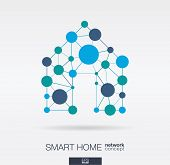 Smart Home Integrated Thin Lines And Circles. Digital Neural Network Interact Concept. Connected Pol poster