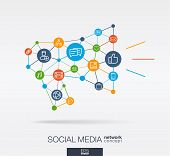Social Media Integrated Thin Line Web Icons In Megaphone Message Shape. Digital Neural Network Inter poster
