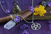 foto of pentacle  - close up of wiccan objects  - JPG