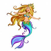 Vector Mythological Character Of The Beautiful Mermaid Princess In Turquoise Clothes With Ornaments. poster
