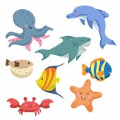 Sea Animals Cartoon Set. Trendy Design Sea And Ocean Wildlife. Isolated Vector Illustration. Octopus poster