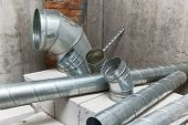 Ventilation Ducts. Many Of The Same Bent Metal Components The Air Duct. Aluminum Air Pipe For Air Du poster
