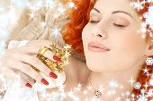 Dreaming Redhead With White Christmas Bells Snowflakes poster