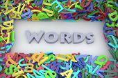 3D rendering of WORDS word surrounded by many colorful fonts poster