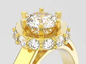 3d Illustration Close Up Yellow Gold Halo Bezel Pave Diamond Ring On A Gray Background poster