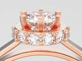 3d Illustration Close Up Rose Gold Halo Bezel Pave Diamond Ring On A Gray Background poster
