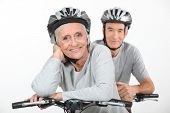 picture of mating bears  - An elderly couple riding their bikes together - JPG