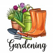 Hand Drawn Gardening Banner. Watering Can, Flowers In Pots, Garden Tools And Rubber Boots In Sketch  poster