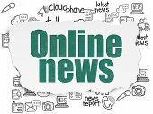 News Concept: Painted Green Text Online News On Torn Paper Background With  Hand Drawn News Icons poster