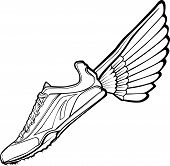 Track Shoe with Wing Illustration