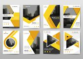 Yellow Vector Annual Report Leaflet Brochure Flyer Template Design, Book Cover Layout Design, Abstra poster