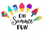 Summer Lettering. Hand Drawn Summer Banners With Ice Cream. Bright Summertime Poster. Collection Sum poster