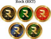 Set Of Physical Golden Coin Rock (rkt), Digital Cryptocurrency. Rock (rkt) Icon Set. Vector Illustra poster