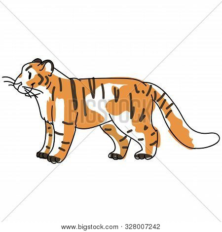 poster of Sketchy Inked Tiger Big Cat Vector Illustration. Free Hand Drawn Endangered Jungle Wildlife Clipart,