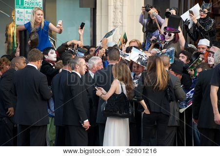 HOLLYWOOD, CA - MAY 7: Movie fans ask for autographs at the premiere of the Warner Bros. Pictures Dark Shadows on May 7, 2012 in Hollywood, California.