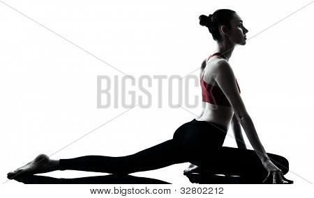 one caucasian woman exercising yoga in silhouette studio isolated isolated on white background