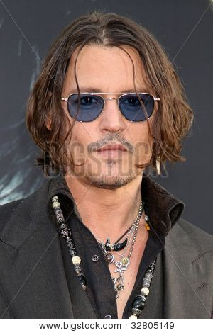 "LOS ANGELES - MAY 7:  Johnny Depp arrives at the ""Dark Shadows"" - Los Angeles Premiere at Graumans Chinese Theater on May 7, 2012 in Los Angeles, CA"
