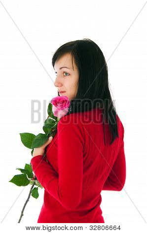 The Romantic Girl With A Pink Rose