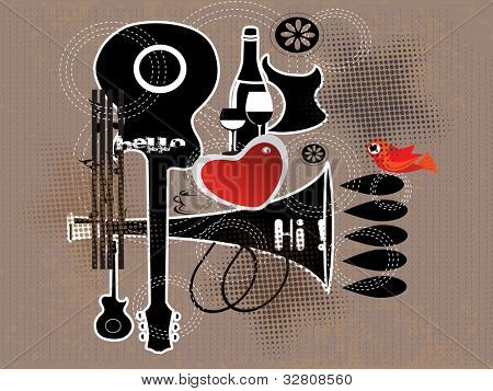 Retro background with guitar, love bird and heart shape on grungy brown background. EPS 10. vector illustration.