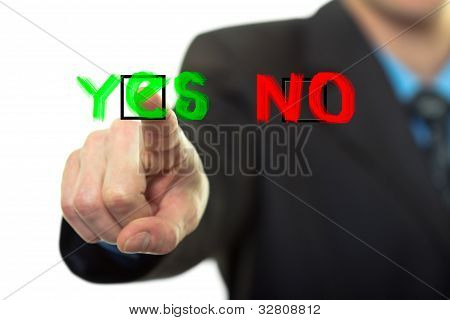 Businessman Presses Button Yes