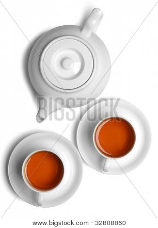 Cup of tea with teapot isolated on white.