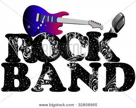 Retro musical background with guitar and microphone and floral decorative text rock band isolated on white background. EPS 10. vector illustration.