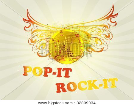 Retro musical background with  disco ball on abstract floral background for disco party and other events. EPS 10. vector illustration.