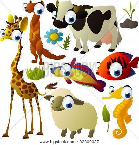 vector animal set: giraffe, cow, sheep, meerkat, fish, hippocampus