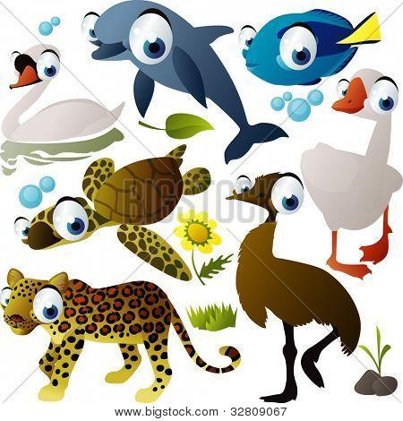 Vector conjunto de animal: delfín, cisne, pescado, avestruz, ganso, tortuga, jaguar