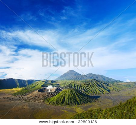 Volcanoes in Bromo Tengger Semeru National Park at sunrise. Java, Indonesia