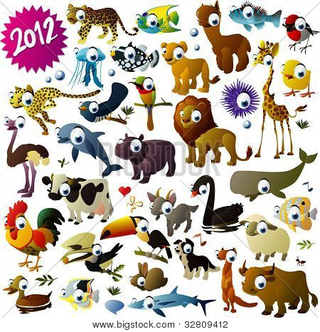 conjunto de animais de grande vector
