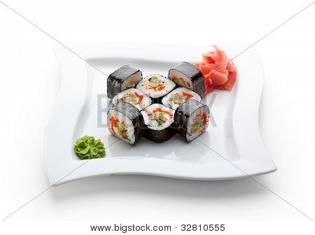 Roll made of Fresh Salmon, Smoked Eel, Avocado, Tobiko and Cucumber inside. Nori outside