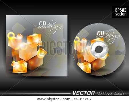 Vector CD cover in grey color having 3D abstract design and space for your text. EPS 10. Vector illustration.