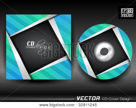 Vector CD cover in black, blue and green color with silver effect and space for your text. EPS 10. Vector illustration.