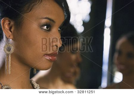 Close up of African woman at party