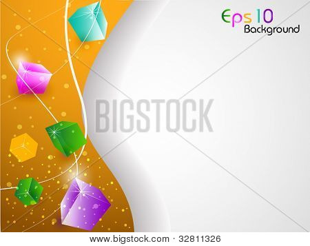 3D Abstract shapes wave background with colorful design for text project used and copy space, isolated on white. EPS 10, vector illustration.