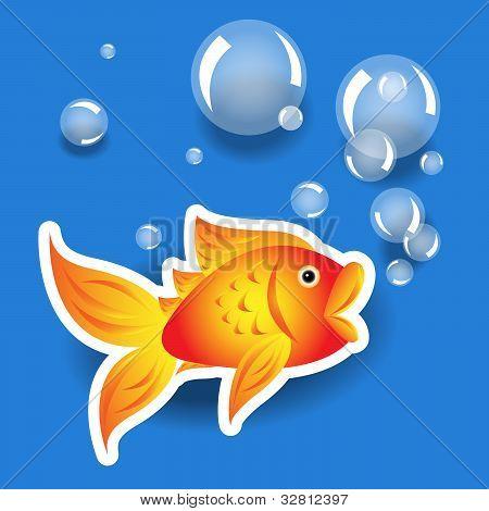 Dibujos animados Goldfih etiqueta con burbujas sobre azul